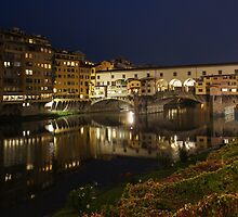 Florence, Italy Night Magic - A Glamorous Evening at Ponte Vecchio  by Georgia Mizuleva