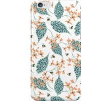 Bees, Flowers and Spotted Leaves iPhone Case/Skin