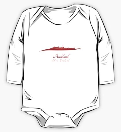 Auckland skyline in red One Piece - Long Sleeve