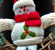 Merry Christmas from Winter Woolly Snowman Sticker