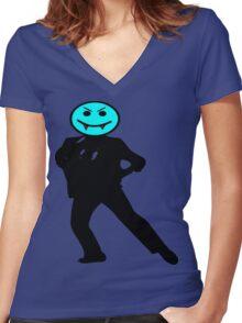 ★ټVampire Smiley Style Hilarious Clothing & Stickersټ Women's Fitted V-Neck T-Shirt