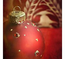 Red and gold Christmas bauble Photographic Print