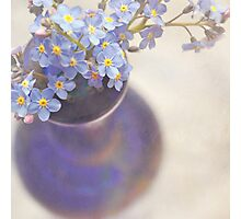 Forget me nots in blue vase Photographic Print