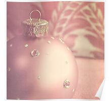 Pink and gold ornate Christmas bauble Poster