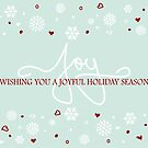 Joy Holiday Snowflakes Hearts Greeting on Blue by ruxique