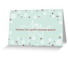 Joy Holiday Snowflakes Hearts Greeting on Blue Greeting Card