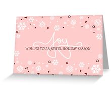 Joy Holiday Snowflakes Hearts Greeting on Pink Greeting Card