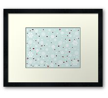 Holiday Snowflakes Hearts on Blue Framed Print