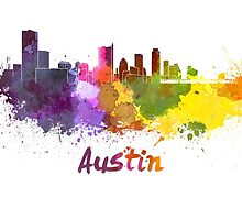 Austin skyline in watercolor by paulrommer