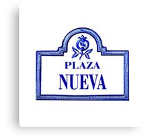 Plaza Nueva, Granada Street Sign, Spain Canvas Print