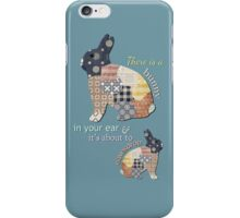 Eavesdropping Bunny - Blue iPhone Case/Skin