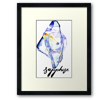 Watercolor Sapphire With Calligraphy – September Birthstone Framed Print