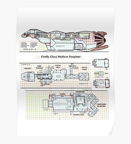 Serenity Firefly floorplan schematics Poster