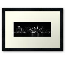 Manhattan Cityscape At Night Framed Print