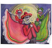 Calavera Mariachi and Dancers Serenade Under Full Moon Poster