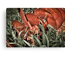 Old rusty Manual iron plough  Canvas Print