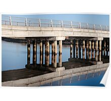 road bridge over cold river reflected Poster