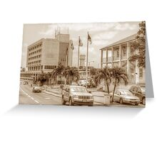 The Post Office on East Hill Street and the Water Tower in Nassau, The Bahamas Greeting Card