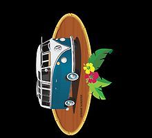 21 Window VW Bus Tuerkis w Bamboo Frame by Frank Schuster