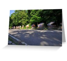 bicycle riders motion blur  Greeting Card