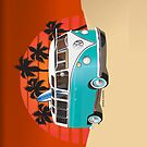 21 Window VW Bus Teal Surfboard in Desert by Frank Schuster