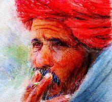 Painting of Indian man smoking by Ravet007