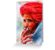 Painting of Indian man smoking Greeting Card