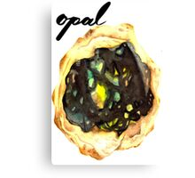 Watercolor Opal With Calligraphy – October Birthstone Canvas Print