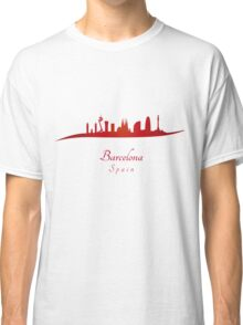 Barcelona skyline in red and gray background Classic T-Shirt
