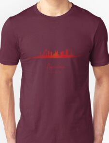 Barcelona skyline in red and gray background T-Shirt
