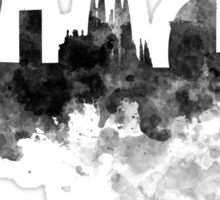 Barcelona skyline in black watercolor Sticker