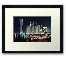 Night time lights at the Dubai Marina Framed Print