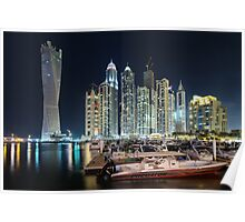 Night time lights at the Dubai Marina Poster