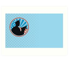 Policeman Security Guard With Police Dog Retro  Art Print