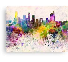 Beijing skyline in watercolor background Canvas Print