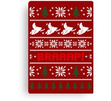 Snowmobile  Ugly Christmas Sweater Canvas Print