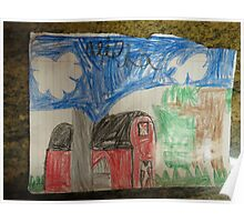 Alisha's Red Barn...she is 7 yrs. old Poster