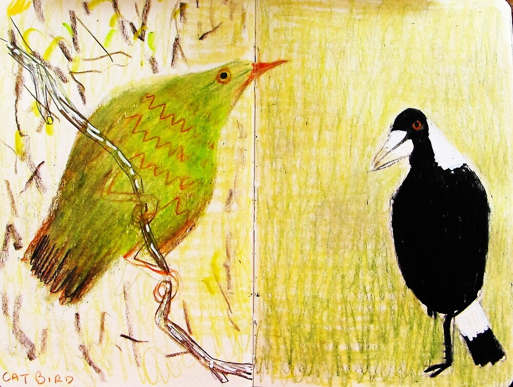 cat bird and magpie by donna malone