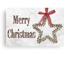 Merry Christmas Message With Silver Star Canvas Print