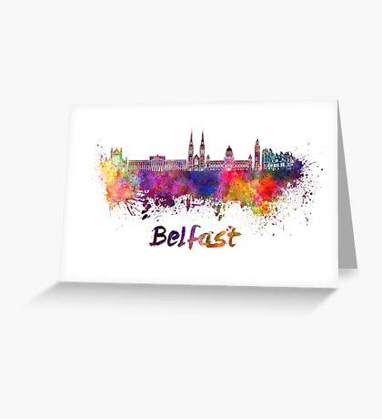 Belfast skyline in watercolor Greeting Card