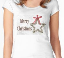 Merry Christmas Message With Silver Star Women's Fitted Scoop T-Shirt