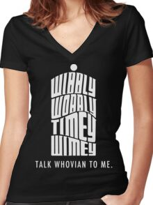 Talk Whovian To Me Women's Fitted V-Neck T-Shirt