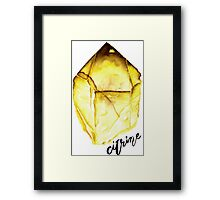 Watercolor Citrine With Calligraphy – November Birthstone Framed Print