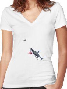 Oh Shit Shark T-Shirt Women's Fitted V-Neck T-Shirt