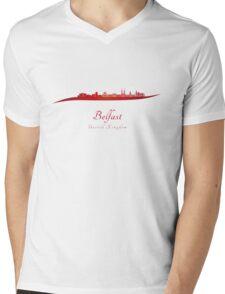 Belfast skyline in red Mens V-Neck T-Shirt