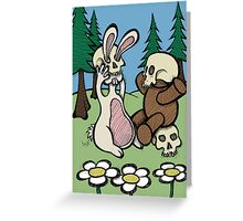 Teddy Bear and Bunny - Playing Dress Up Greeting Card