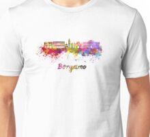 Bergamo skyline in watercolor Unisex T-Shirt