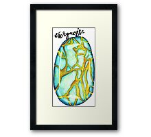Watercolor Turquoise With Calligraphy – December Birthstone Framed Print