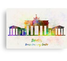 Berlin Landmark Brandenburg Gate in watercolor Canvas Print