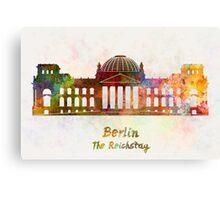 Berlin Landmark The Reichstag in watercolor Canvas Print